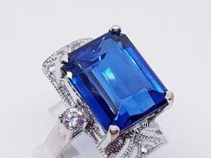 Видео кольца с крупным синим топазом. Ярмарка Мастеров - ручная работа, handmade.