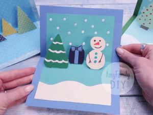 Как сделать новогоднюю 3D открытку. Ярмарка Мастеров - ручная работа, handmade.