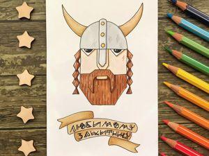 Tutorial: Minimalistic Viking Postcard. Livemaster - handmade