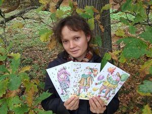 Серия открыток  «Осенние ребята». Ярмарка Мастеров - ручная работа, handmade.