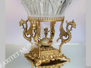 Ваза хрусталь бронза латунь золото оникс ангел Франция 40. Ярмарка Мастеров - ручная работа, handmade.