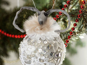 Елочные шары из ткани Кролики и зайцы. Ярмарка Мастеров - ручная работа, handmade.