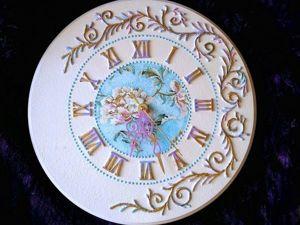 Декор настенных часов. Объёмная роспись рельефной пастой. Ярмарка Мастеров - ручная работа, handmade.