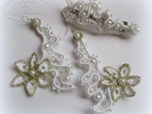 Комплект украшений в белом цвете. Ярмарка Мастеров - ручная работа, handmade.