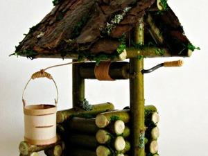 Делаем миниатюрный рубленый колодец с ведёрком из бересты. Ярмарка Мастеров - ручная работа, handmade.