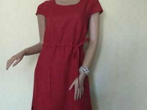 Красное платье из льна. Ярмарка Мастеров - ручная работа, handmade.