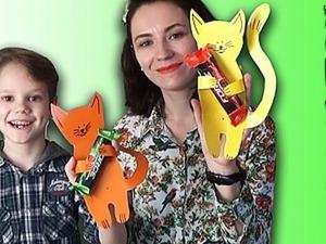Видео мастер-класс: как просто сделать милого котенка из картона. Ярмарка Мастеров - ручная работа, handmade.