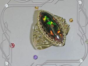 Кольцо «Маркиз-опал» золото 585 пробы, натуральный опал. Ярмарка Мастеров - ручная работа, handmade.