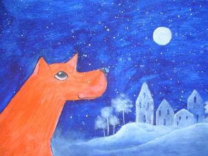 Урок рисования: пишем акрилом картину «Рыжий пес и домики». Ярмарка Мастеров - ручная работа, handmade.
