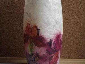 Декупаж вазы при помощи рисовой бумаги и салфеток. Ярмарка Мастеров - ручная работа, handmade.