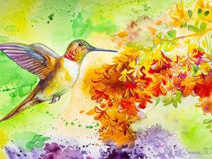 Рисуем акварелью ярких птичек. Ярмарка Мастеров - ручная работа, handmade.
