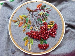 Украшаем кофточку — вышиваем веточку рябины. Ярмарка Мастеров - ручная работа, handmade.