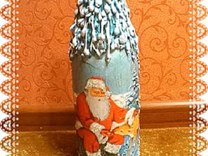 """Мастер-класс: декорируем бутылку """"Новогоднее шампанское"""". Ярмарка Мастеров - ручная работа, handmade."""