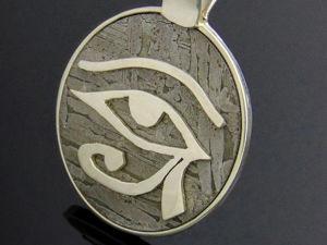 Серебряный кулон амулет  «Око»  с редким  метеоритом Сеймчан. Ярмарка Мастеров - ручная работа, handmade.
