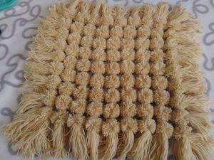 Handmade Pompom Rug/Stool Cover. Livemaster - handmade