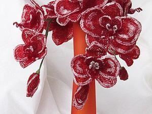 Плетем букет зимних орхидей «Рождественский поцелуй» из бисера. Ярмарка Мастеров - ручная работа, handmade.
