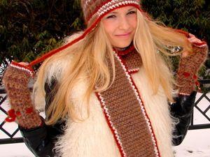 Шапка , шарф , митенки , повязка на голову  из собачьей  шерсти со скидкой    80% !. Ярмарка Мастеров - ручная работа, handmade.