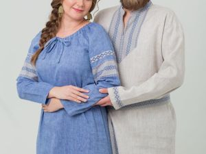 Комплект Рубаха И Платье Льняной Дождь. Ярмарка Мастеров - ручная работа, handmade.