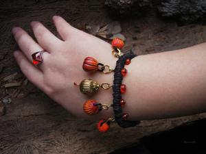 Акция на плетёный браслет с тыквами — Думаем о Хеллоуине. Ярмарка Мастеров - ручная работа, handmade.