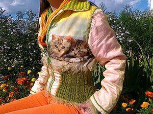 Модная куртка с котятами из подручных материалов. Ярмарка Мастеров - ручная работа, handmade.