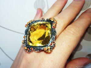 Видео роскошного кольца с огромным цитрином. Ярмарка Мастеров - ручная работа, handmade.