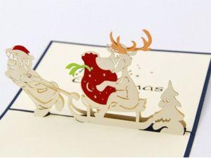Дед Мороз с Оленем – объёмная 3D открытка ручной работы. Ярмарка Мастеров - ручная работа, handmade.