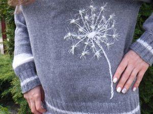 Украшаем женский свитер одуванчиком. Ярмарка Мастеров - ручная работа, handmade.