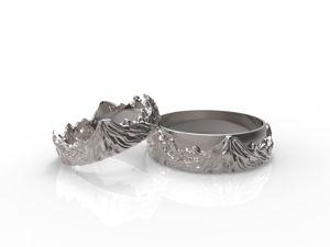 Обручальные кольца  «Горы»  золото и серебро. Ярмарка Мастеров - ручная работа, handmade.
