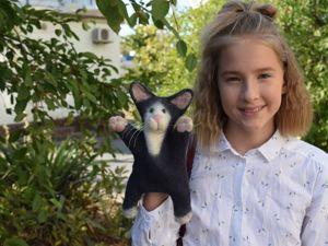 Котенок Вася — игрушка на руку. Ярмарка Мастеров - ручная работа, handmade.