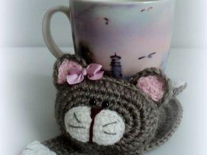 Вяжем крючком котика-подставку под чашку. Ярмарка Мастеров - ручная работа, handmade.