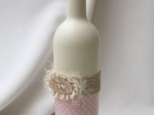 Декупаж бутылки в рустикальном стиле. Приклеивание салфетки горячим методом. Ярмарка Мастеров - ручная работа, handmade.
