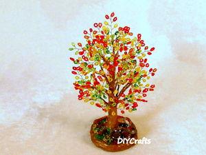 Видео мастер-класс: создаем «Осеннее дерево» из бисера. Ярмарка Мастеров - ручная работа, handmade.