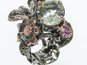 Кольцо с зеленым аметистом, размер 16,5. Ярмарка Мастеров - ручная работа, handmade.