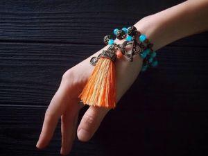 Этнический браслет-колье  «Дочь солнца и неба». Ярмарка Мастеров - ручная работа, handmade.