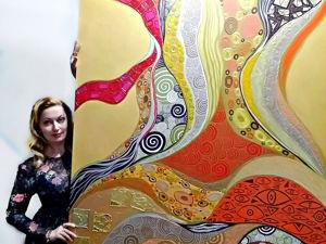Большая интерьерная картина по мотивам Густава Климта. Ярмарка Мастеров - ручная работа, handmade.