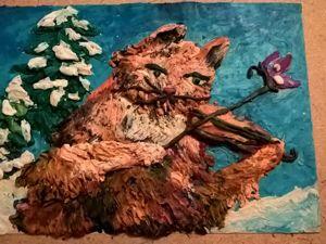 Живопись пластилином. Кот музыкант. Ярмарка Мастеров - ручная работа, handmade.