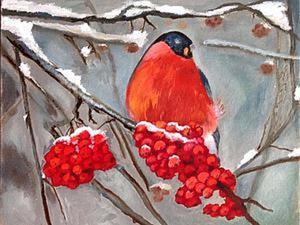 """Сделаем красиво и недорого новогодний подарок — нарисуем картину маслом """"Снегирь на ветке"""". Ярмарка Мастеров - ручная работа, handmade."""