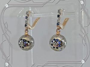Серьги «Бриллиантовый ШАР» золото 585, бриллианты, сапфиры. Ярмарка Мастеров - ручная работа, handmade.