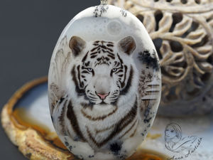 Кулон талисман тотем  «Белый Тигр. Познавший Дзен»  живопись. Ярмарка Мастеров - ручная работа, handmade.
