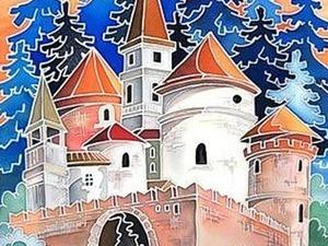 Поэтапное выполнение росписи на ткани «Замок». Ярмарка Мастеров - ручная работа, handmade.