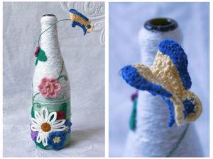 «Цветочная поляна»: декорируем бутылку вязаными элементами. Ярмарка Мастеров - ручная работа, handmade.