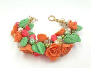 Лепим из полимерной глины цветочный браслет «Чувствую весну». Ярмарка Мастеров - ручная работа, handmade.