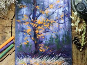 Рисуем осеннее дерево сухой пастелью. Ярмарка Мастеров - ручная работа, handmade.