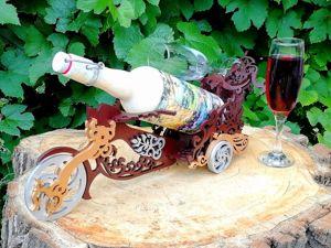 Подставка в виде Мотоцикла под вино и 2 фужера. Ярмарка Мастеров - ручная работа, handmade.