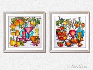 Натюрморт на стекле витражными красками. Ярмарка Мастеров - ручная работа, handmade.