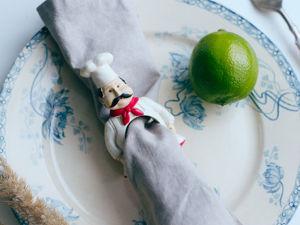 Винтажные фаянсовые кольца для салфеток повара и официанты Франция. Ярмарка Мастеров - ручная работа, handmade.