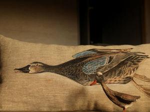 Льняная утка — утка в полете. Ярмарка Мастеров - ручная работа, handmade.