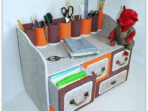 Делаем из картона вместительный комод с выдвижными ящичками для рукоделия. Ярмарка Мастеров - ручная работа, handmade.
