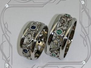 Кольца/пара «Обручальные-ЭКСКЛЮЗИВ» серебро 925, сапфиры, изумруды, родий. Ярмарка Мастеров - ручная работа, handmade.