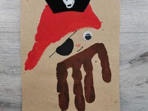 Как ладошками нарисовать пирата. Пальчиковый метод. Ярмарка Мастеров - ручная работа, handmade.